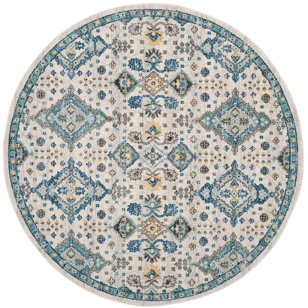 Safavieh Evoke Isadora Ivory / Light Blue 6 ft. 7 inch x 6 ft. 7 inch Indoor Round Area Rug