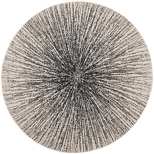 Tapis d'intérieur rond, 6 pi 7 po x 6 pi 7 po, Evoke Martin, noir / ivoire