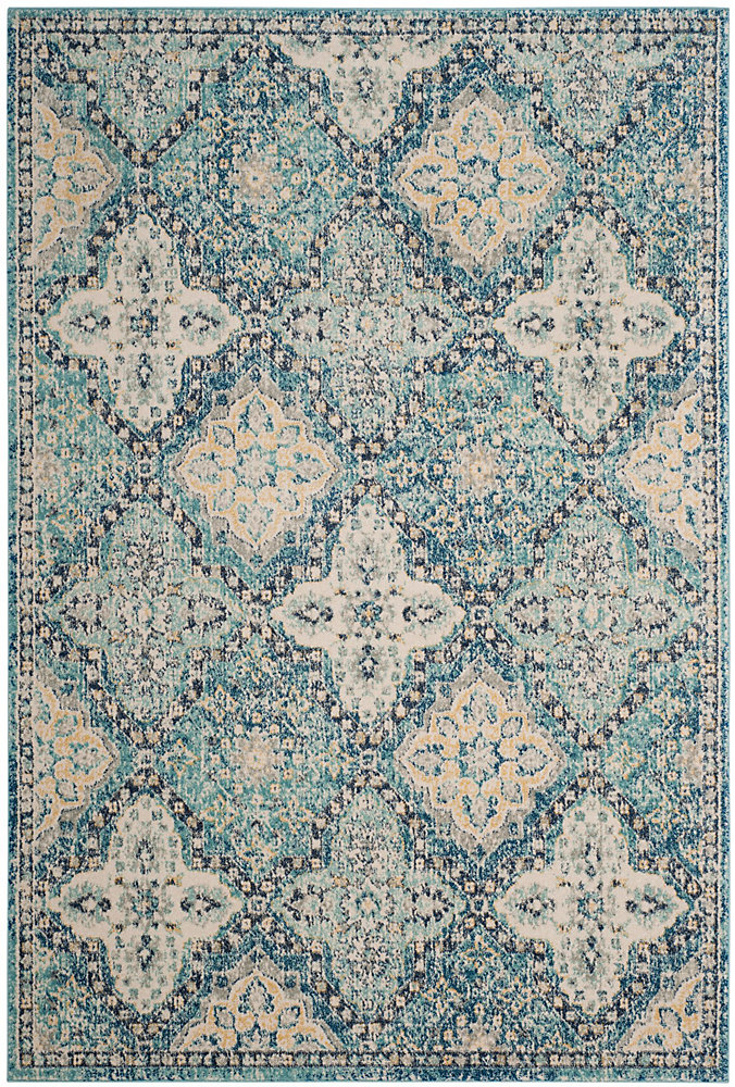 Evoke Cara Light Blue / Ivory 6 ft. 7 inch x 9 ft. Indoor Area Rug