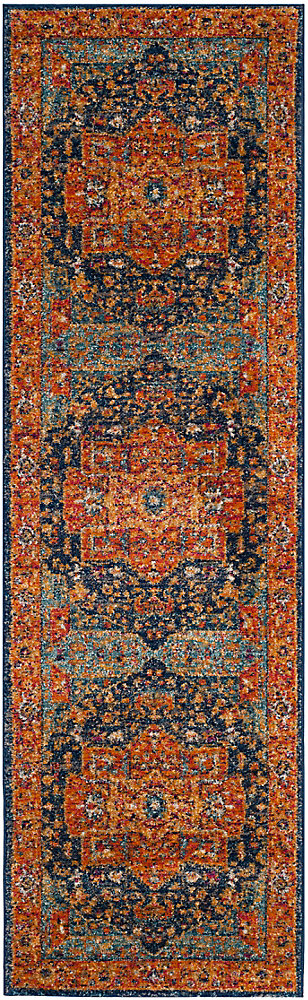 Tapis de passage d'intérieur, 2 pi 2 po x 11 pi, Evoke Watson, bleu / orange