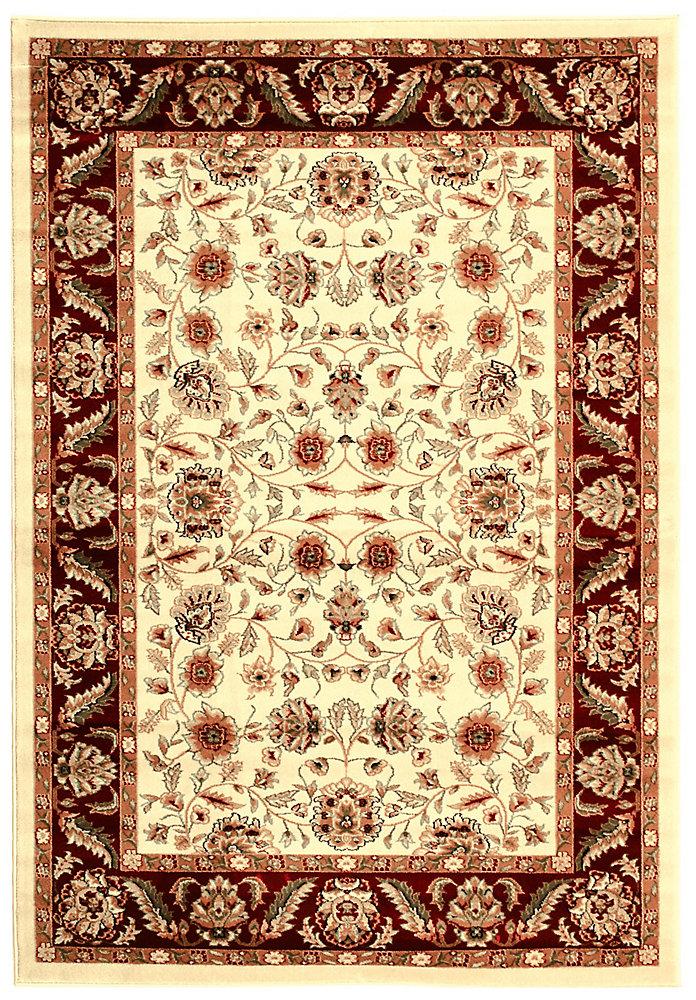 Tapis d'intérieur, 6 pi x 9 pi, Lyndhurst Dani, ivoire / rouge