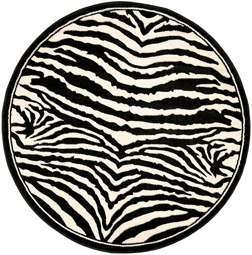 Tapis d'intérieur rond, 4 pi x 4 pi, Lyndhurst Bruce, blanc / noir