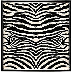 Safavieh Lyndhurst Bruce White / Black 7 ft. x 7 ft. Indoor Square Area Rug