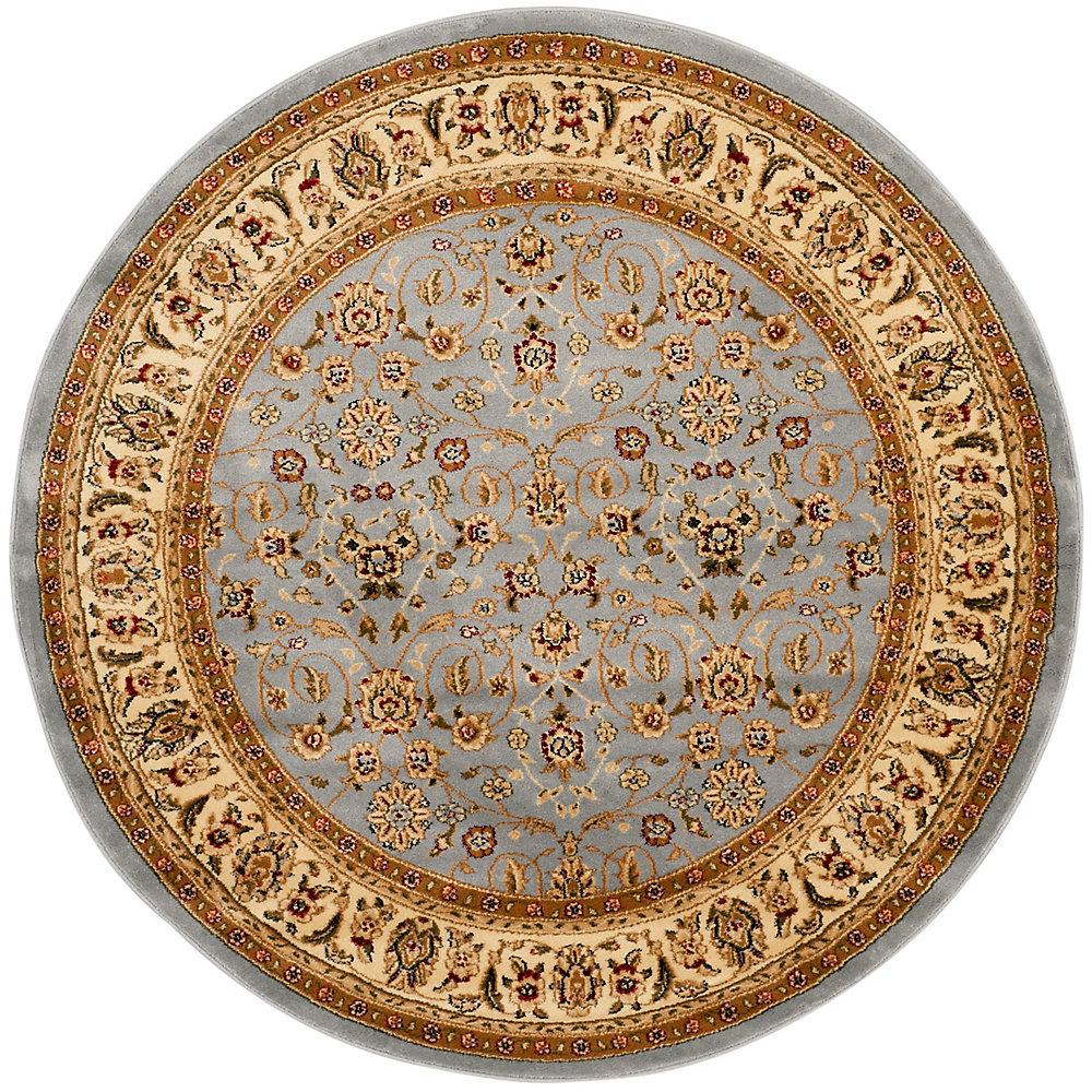 Tapis d'intérieur rond, 5 pi 3 po x 5 pi 3 po, Lyndhurst Adria, bleu clair / ivoire