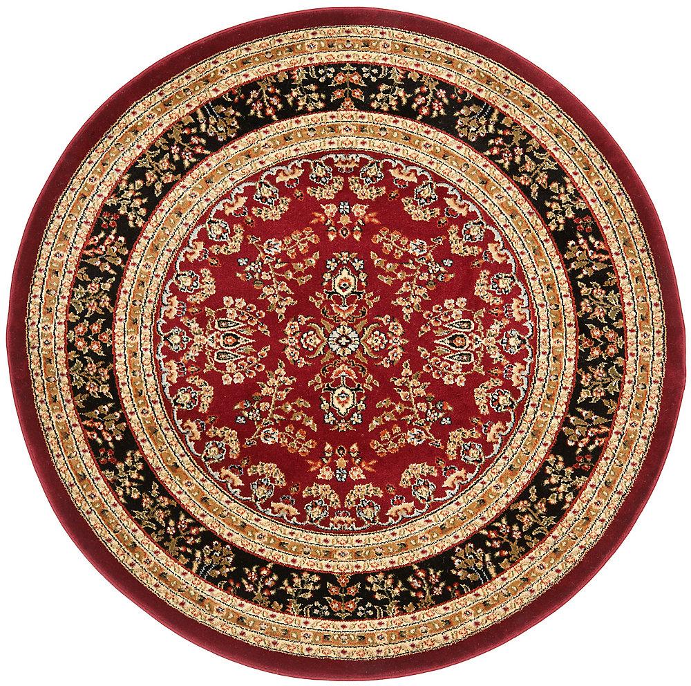 Lyndhurst Greta Red / Black 5 ft. 3 inch x 5 ft. 3 inch Indoor Round Area Rug