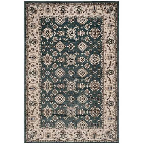 Safavieh Lyndhurst Hank Teal / Cream 5 ft. 3 inch x 7 ft. 6 inch Indoor Area Rug