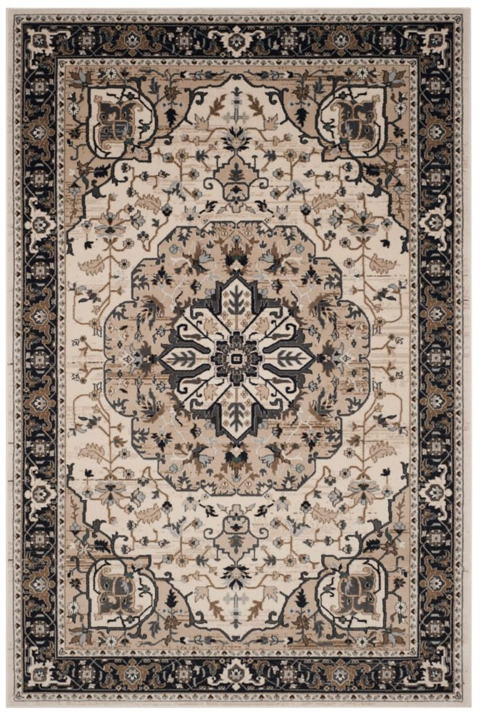 Lyndhurst Aiden Cream / Navy 4 ft. x 6 ft. Indoor Area Rug