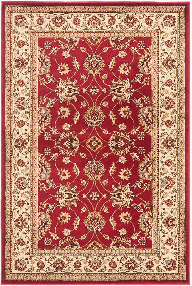 Tapis d'intérieur, 4 pi x 6 pi, Lyndhurst Emmett, rouge / ivoire