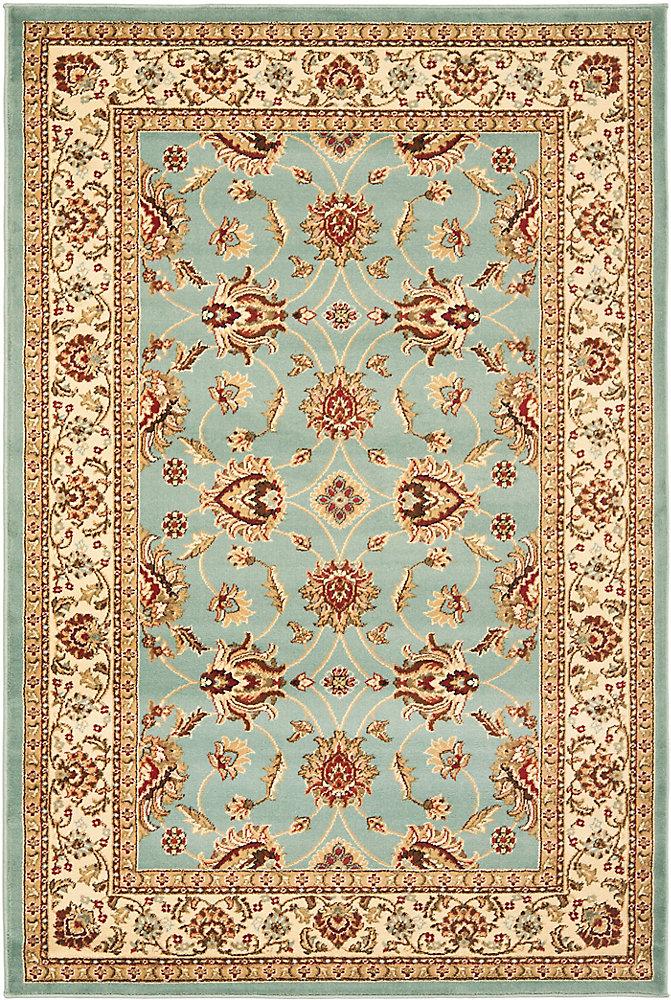 Tapis d'intérieur, 4 pi x 6 pi, Lyndhurst Emmett, bleu / ivoire