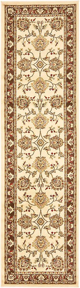 Tapis de passage d'intérieur, 2 pi 3 po x 16 pi, Lyndhurst Hoyt, ivoire / brun