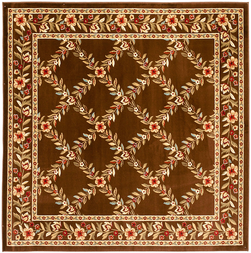 Lyndhurst Lori Brown 6 ft. 7 inch x 6 ft. 7 inch Indoor Square Area Rug