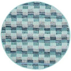 Safavieh Tapis d'intérieur rond, 6 pi x 6 pi, Montauk Napier, turquoise / multi