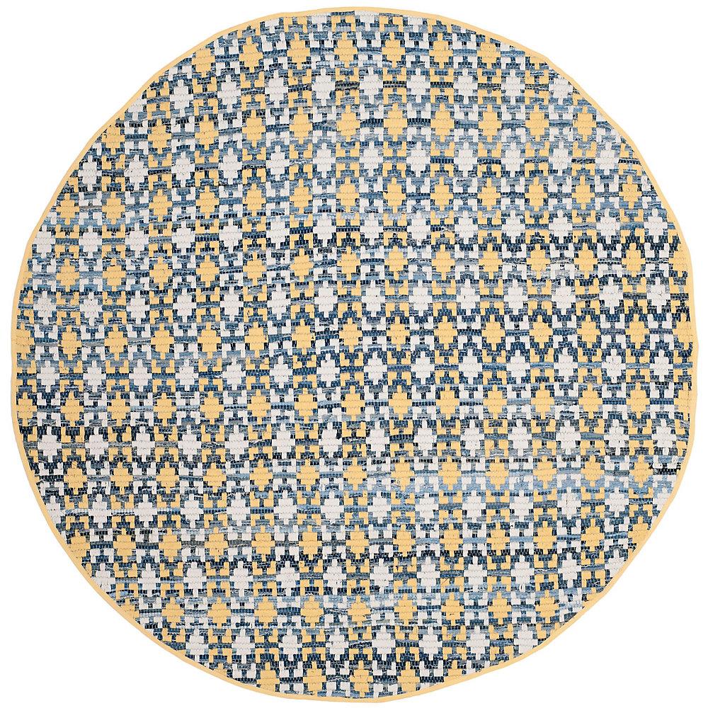 Tapis d'intérieur rond, 6 pi x 6 pi, Montauk Cris, or / multi