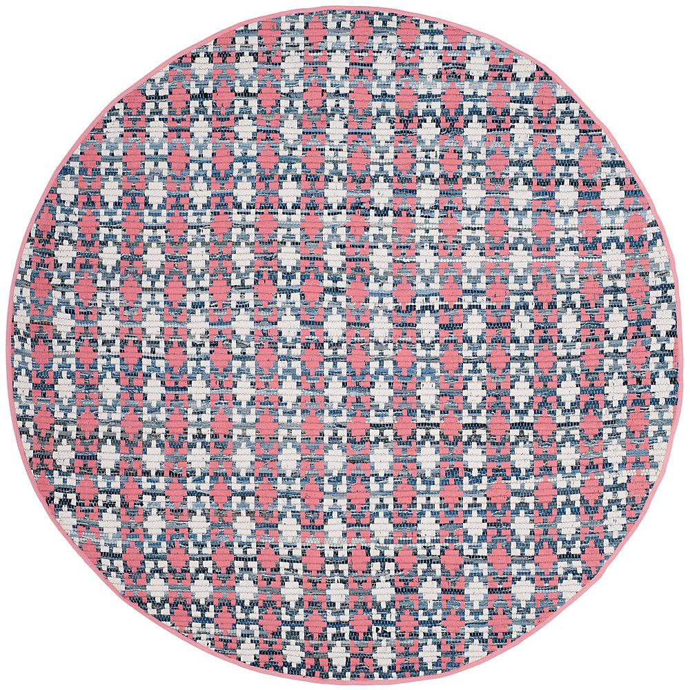 Tapis d'intérieur rond, 6 pi x 6 pi, Montauk Cris, coral / multi