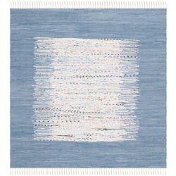 Safavieh Tapis d'intérieur carré, 6 pi x 6 pi, Montauk Delroy, ivoire / bleu foncé