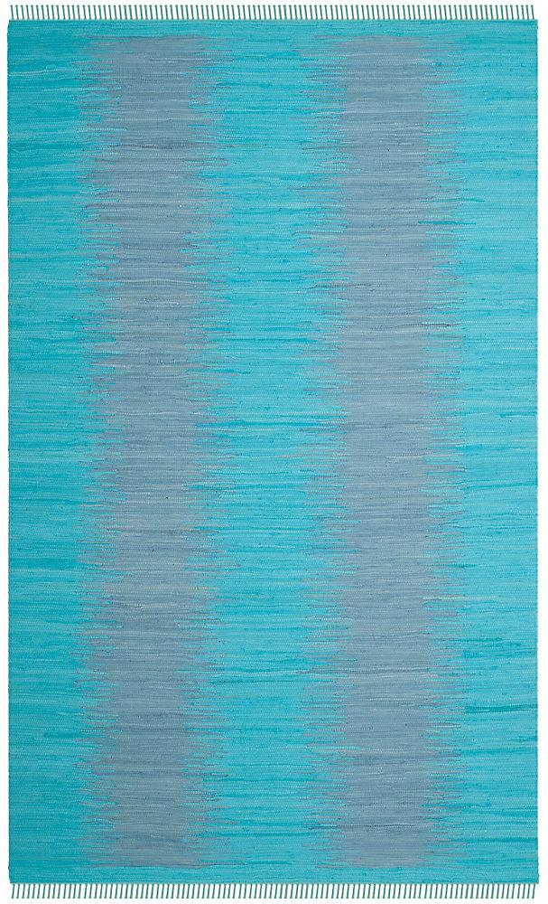 Tapis d'intérieur, 6 pi x 9 pi, Montauk Kim, turquoise