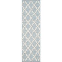 Safavieh Tapis de passage d'intérieur, 2 pi 3 po x 9 pi, Montauk Cecilia, bleu clair / ivoire