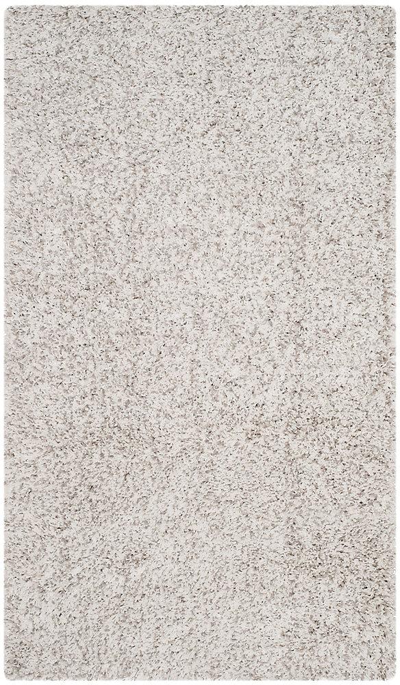 Shag Felicia White / Light Grey 3 ft. x 5 ft. Indoor Area Rug