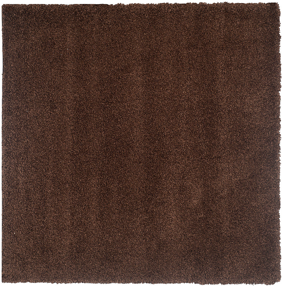 Shag Felicia Brown 4 ft. x 4 ft. Indoor Square Area Rug