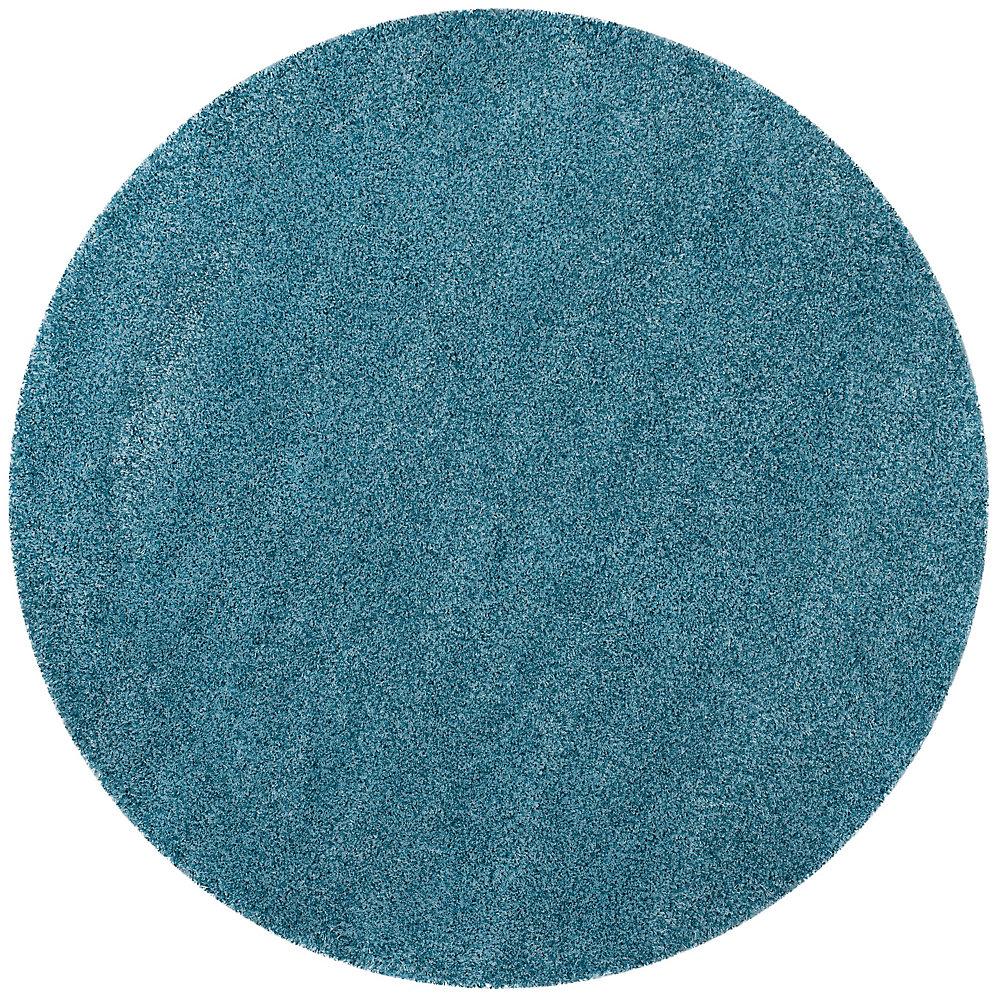 Tapis d'intérieur rond, 6 pi 7 po x 6 pi 7 po, California Shag Felicia, turquoise