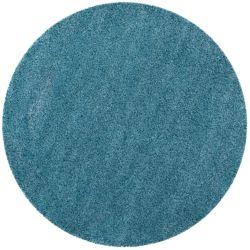 Safavieh Tapis d'intérieur rond, 6 pi 7 po x 6 pi 7 po, California Shag Felicia, turquoise