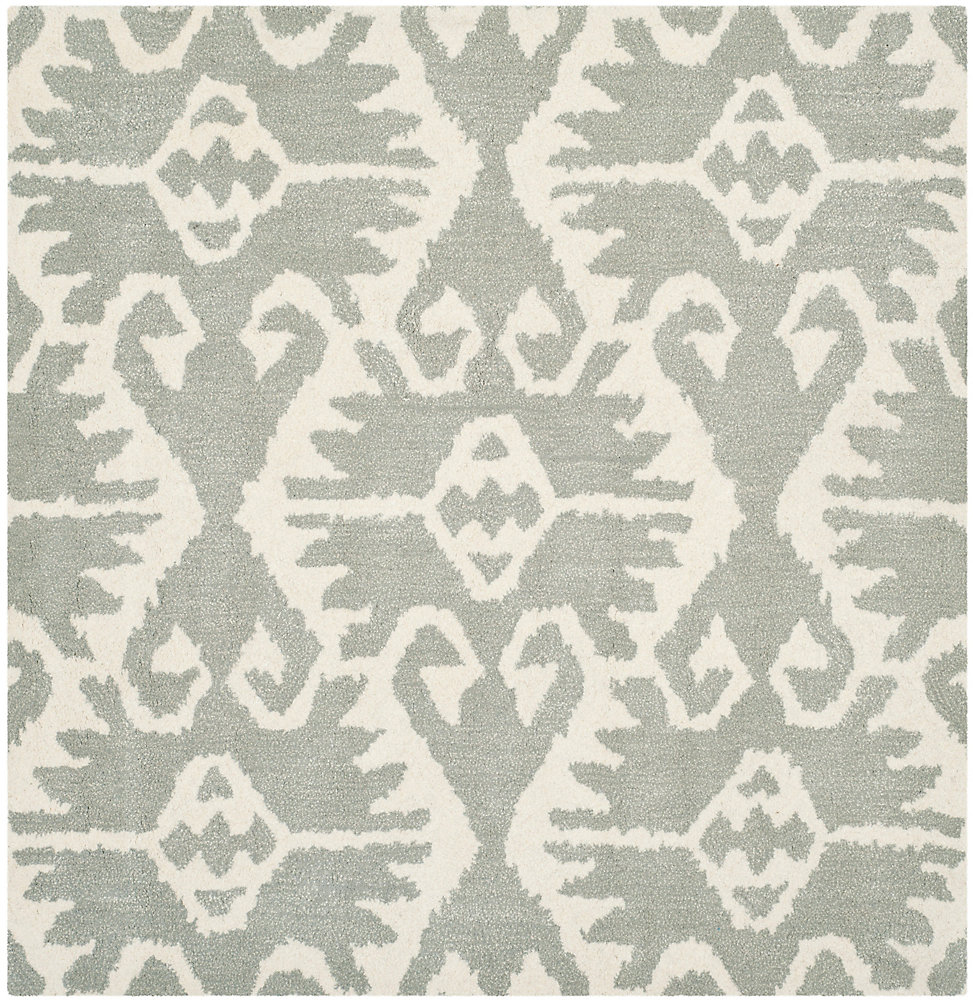 Wyndham Alexis Grey / Ivory 7 ft. x 7 ft. Indoor Square Area Rug