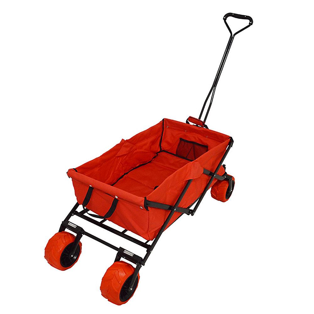 Wagon pliable pour plage et évènements sportifs, rouge