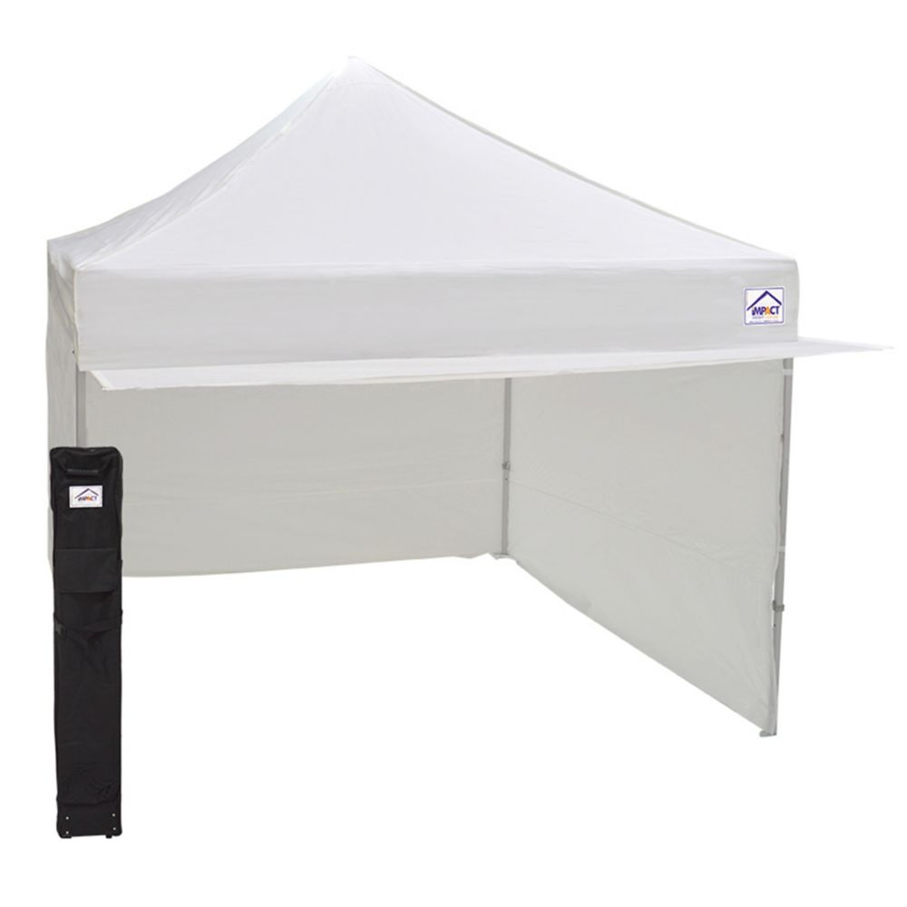Impact Canopy 10 Feet x 10 Feet Aluminum & Steel Mix Vendor Canopy with Enclosure & Awning White