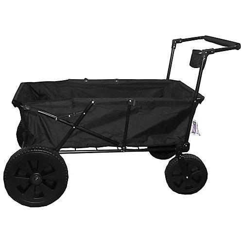 Heavy Duty Maxima Folding Wagon with Oversized Wheels in Black