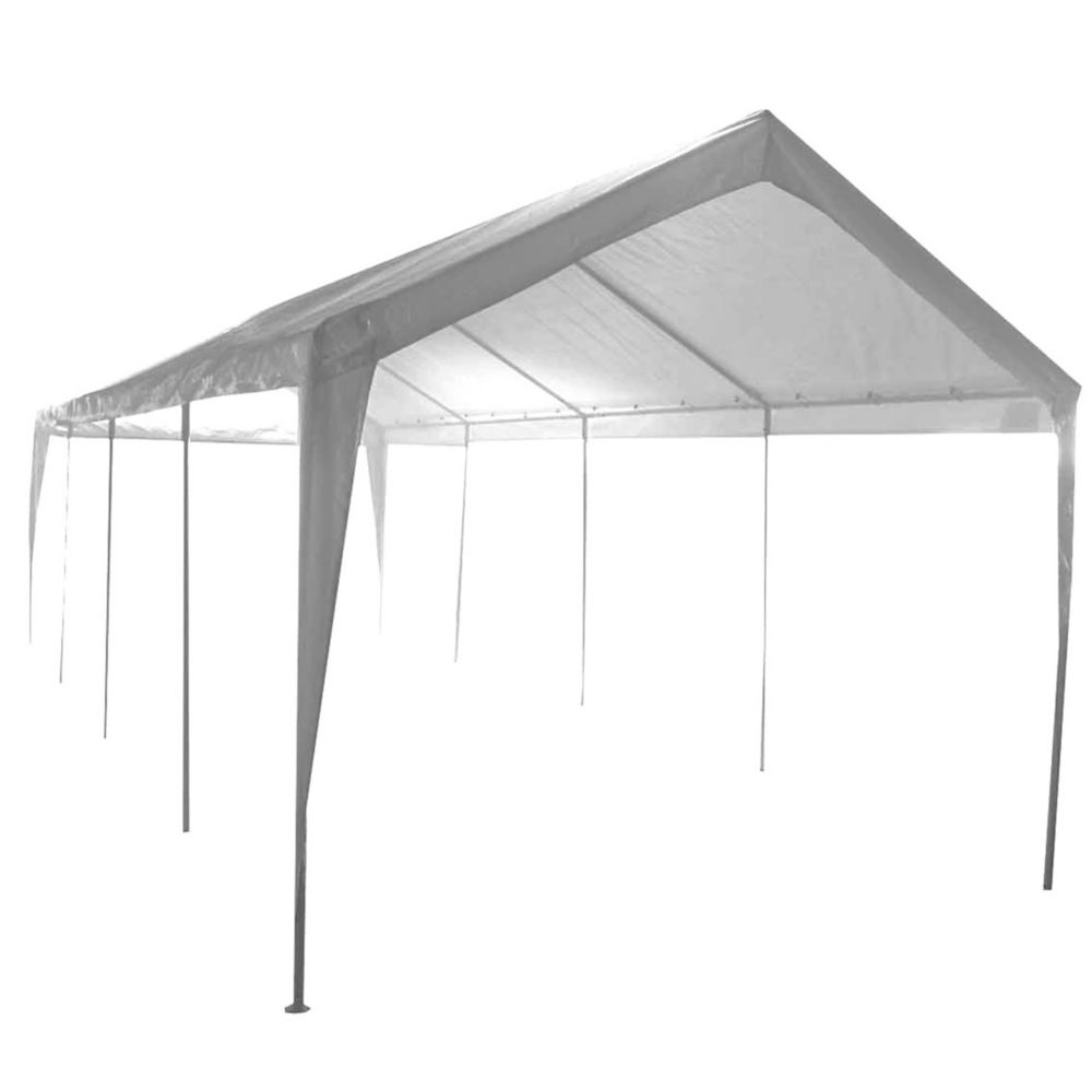 Impact Shelter 10 ft. x 27 ft. 2-Car 10-Leg Carport or Boat Cover Canopy