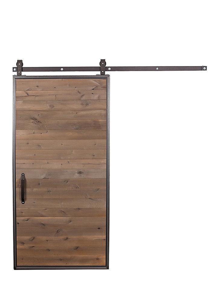 Porte de grange en bois moderne avec trousse quincaillerie pour porte coulissante, gris, 42 po x 84 po