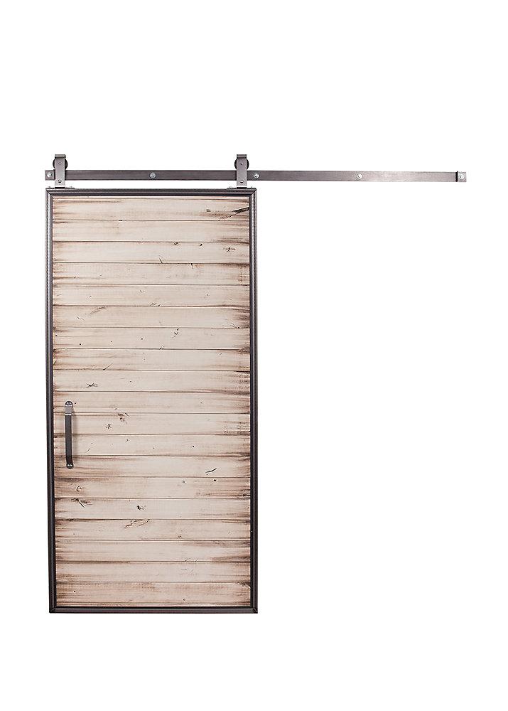 42 inch x 84 inch Mountain Modern White Wash Barn Door with Sliding Door Hardware Kit
