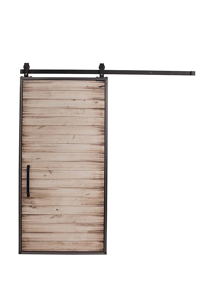 Porte de grange en bois moderne avec trousse quincaillerie pour porte coulissante, blanc, 42 po x 84 po