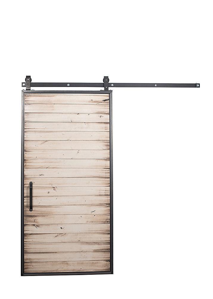 42 inch x 84 inch Mountain Modern White Wash Wood Barn Door with Sliding Door Hardware Kit