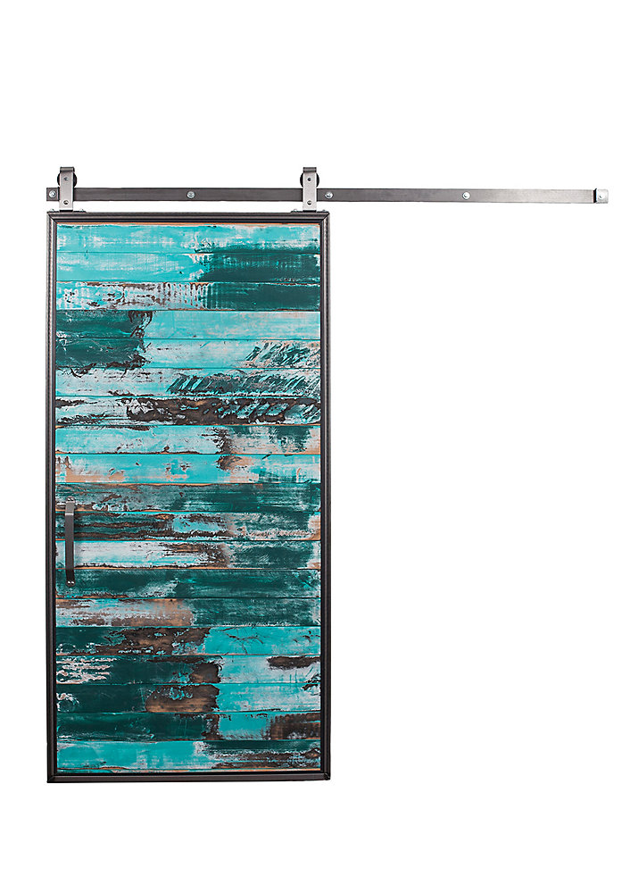 42 inch x 84 inch Mountain Modern Aqua Wood Barn Door with Sliding Door Hardware Kit