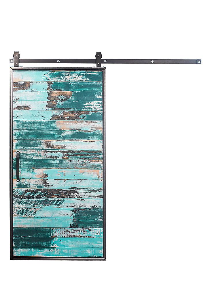 Porte de grange en bois moderne avec trousse quincaillerie pour porte coulissante, aqua, 42 po x 84 po