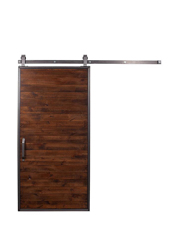 42 inch X 84 inch Mountain Modern Stain, Glaze, Clear wood Barn Door with Sliding Door Hardware Kit