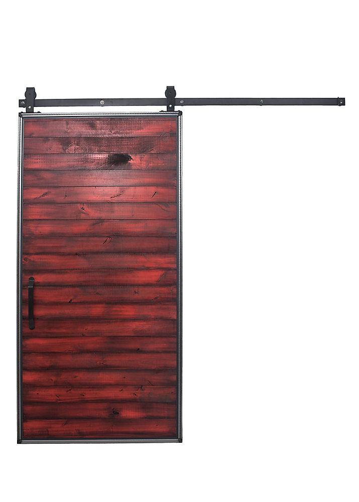 Porte de grange en bois rouge moderne avec trousse quincaillerie pour porte coulissante,