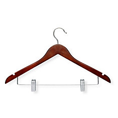 12-Pack Basic Suit Hanger With Clips, Cherry Finish