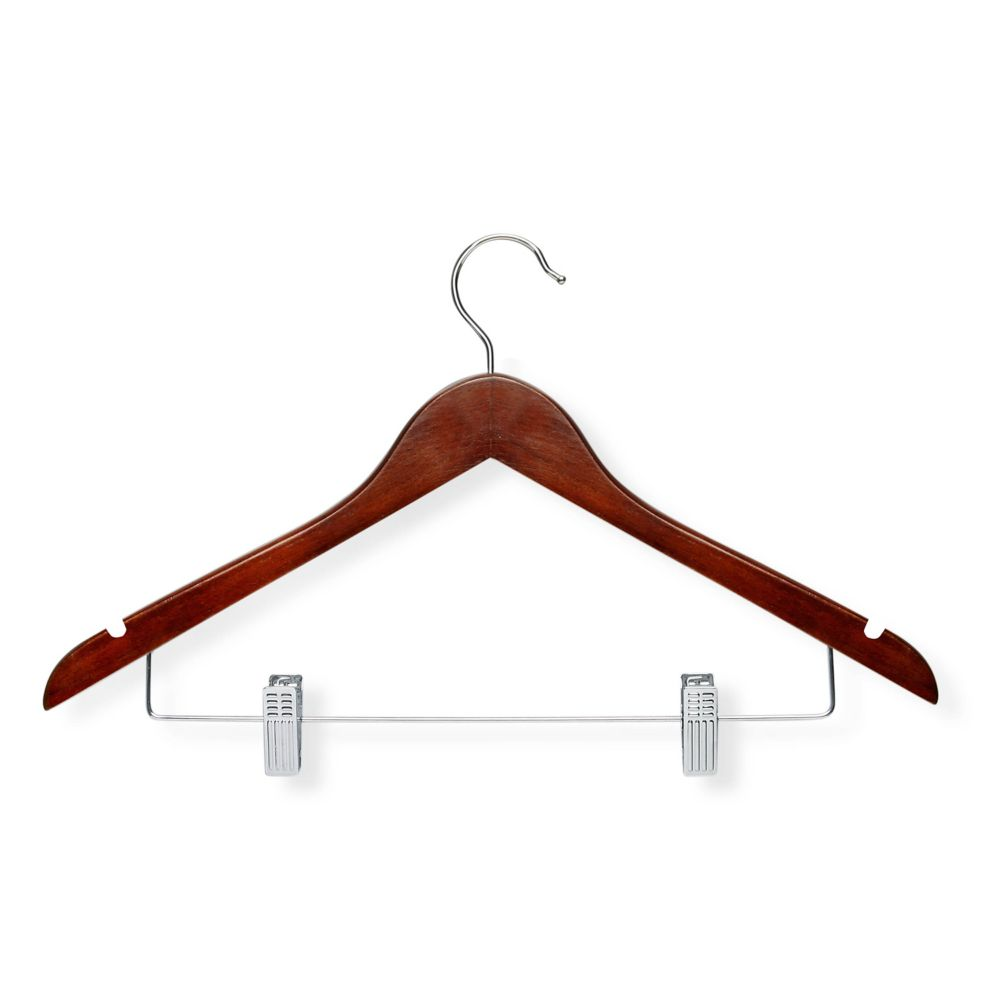 Honey Can Do 12-Pack Basic Suit Hanger With Clips, Cherry Finish