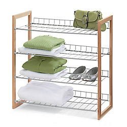 Honey Can Do 4-Tier 18-Pair Wood and Metal Accessory Rack