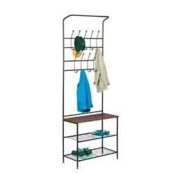 Honey Can Do 18-Hook Steel Freestanding Storage Valet in Black