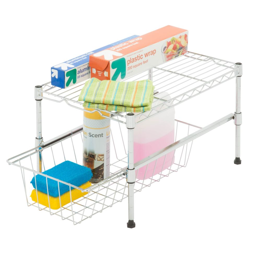 Honey Can Do 11-inch H x 12-inch W x 18-inch D Adjustable Steel Shelf with Basket Cabinet Organizer in Chrome