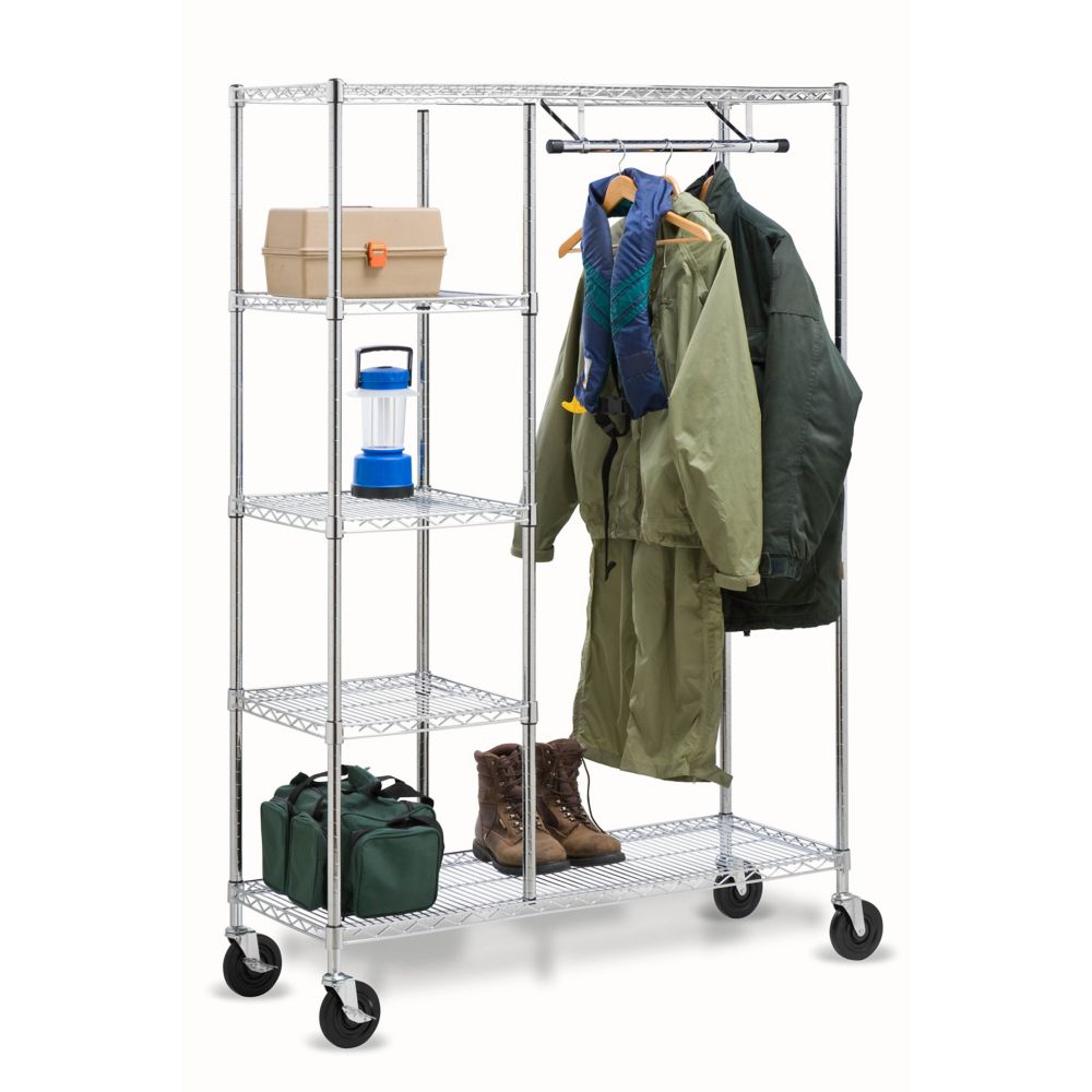 Honey Can Do Heavy Duty Steel Rolling Closet Rack in Chrome