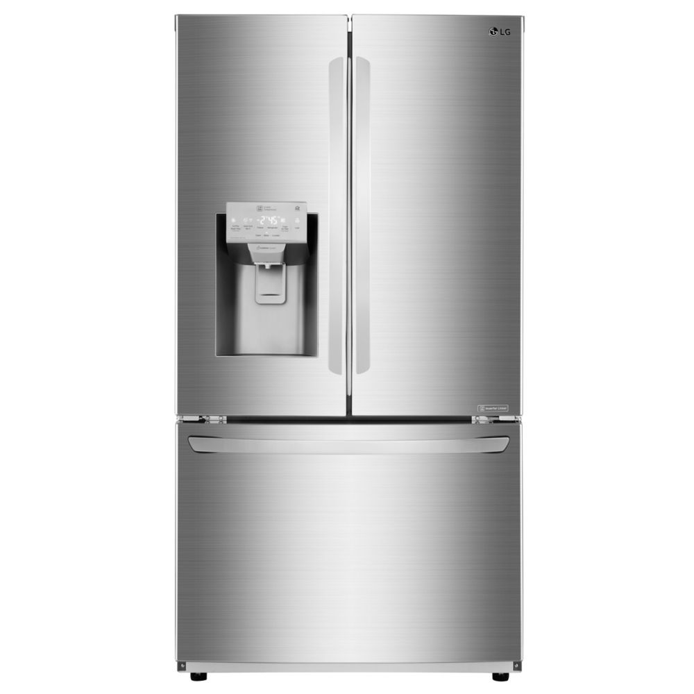 LG Electronics 36-inch 28 cu. ft. French Door Refrigerator with Slim SpacePlus Ice System in Stainless Steel - ENERGY STAR®