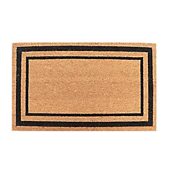 TrafficMASTER Double Boarder 18-inch X 30-inch  Black Coir Door Mat