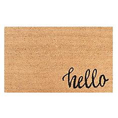 Hello 18-inch X 30-inch Black Coir Door Mat