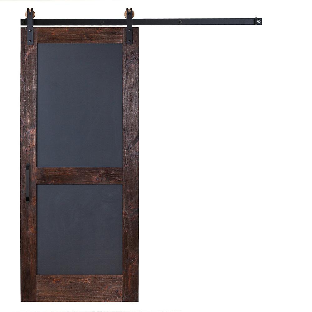 Porte à grange à carreaux avec Garrick Hardware plat, noir, 36 po x 84 po