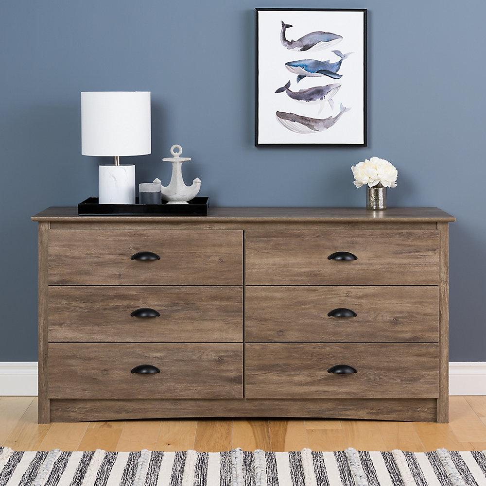 Prepac Salt Spring 6 Drawer Dresser In Drifted Gray