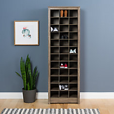 Space-Saving Shoe Storage Cabinet in Drifted Grey